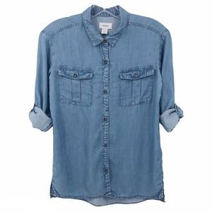 Old Navy Chambray Button Up Shirt Roll Tab Sleeve